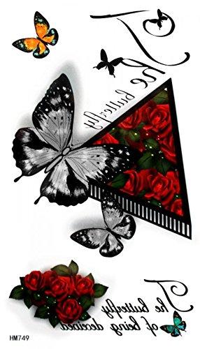 Rose rosse, nero e bianco, farfalle colorate tatuaggi temporanei