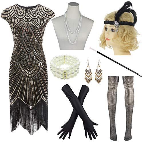 8IGHTEEN COSTUME 1920er Jahre Flapper Dress Roaring 20er Jahre Great Gatsby Fransen Pailletten Kleid Zubehör Set (S, Black&Gold) (1920er Jahre Make Up)