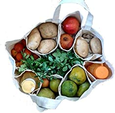 Aimex Large Partition Grocery Hand Bag for Vegetables/Fruits