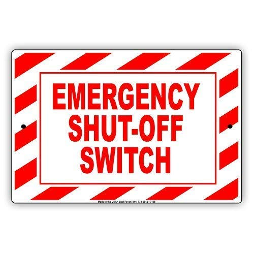 Tin Sign Fashion Emergency Shut Off Switch Warning Notice Memo Plate Metal Aluminum Sign Wall Plaque for Indoor Outdoor 7.8x11.8 Inch -