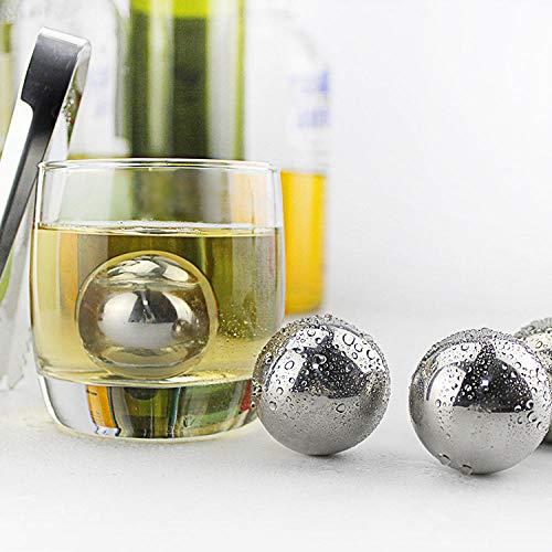 YUGOOS Eiswürfel aus rostfreiem Stahl. Kugel aus rostfreiem Stahl, kreatives EIS, gefrorener Wein, 10 Stück. Wiederverwendbare Kühlsteine   aus rostfreiem Stahl (Whisky-kugeln Aus Stahl)