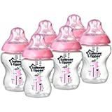 Tommee Tippee Closer to Nature 260 ml/9fl oz Decorated Feeding Bottles - Pink, Pack of 6