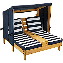 KidKraft 524 Double chaise longue en bois avec porte-gobelet Meuble de jardin pour enfant Bleu marine et blanc