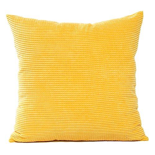 JOTOM Cord Kissenbezug Kissenhülle,Weiche Einfarbige Wohnkultur Kissen Thow Fall Dekorative kissenbezüge für Sofa Couch/Bank/Bett, 45x45 cm (Gelb)