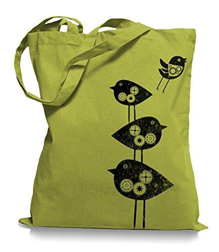 Ma2ca® Mechanical Birds - Jutebeutel Stoffbeutel Tragetasche / Bag WM101 Kiwi