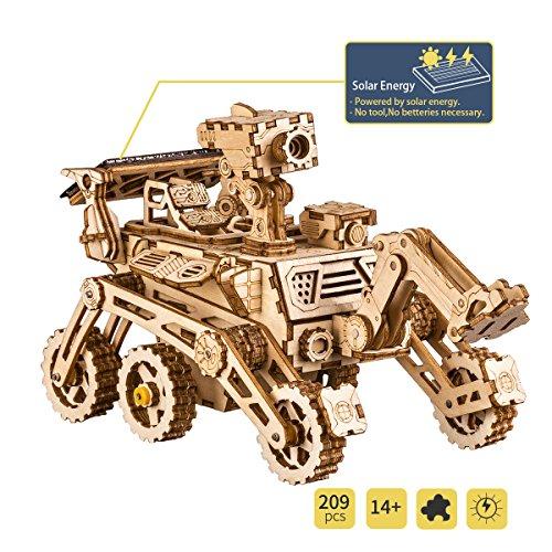 ROBOTIME Solarbetriebene Stem Spielzeug - Laserschneiden DIY Roboter Auto Modellbau Kits - 3D Holz Puzzle Alter 14 3D Puzzles Erwachsene (Curiosity Rover) (Roboter-diy)