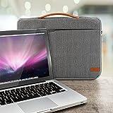 deleyCON Notebook-Tasche Macbook Laptop bis 17″ (43,2cm) Schutztasche aus robustem Nylon 2 Zubehörfächer verstärkte Polsterwände – Grau/Braun - 7