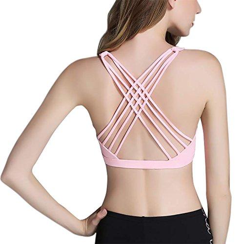 iBaste Le donne Croce Indietro Yoga Reggiseno sportivo coppe estraibili Esecuzione fitness allenamento Bra lette Rosa