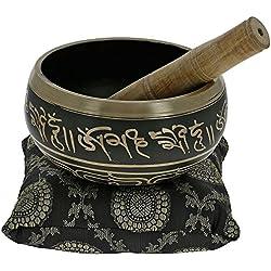 YouCan medio tibetana cantando cuencos Set Negro Con Cojín (almohada) y Stick (mazo)–Meditación Cuenco Tibetano