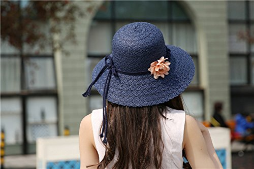 Luck Femme Fille Chapeau Fedora Panama Papillon Vacances Antisolaire (Bleu Marine) Bleu Marine
