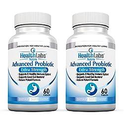 Nr. 1 Erweiterte Probiotische Formel Extra Stärke Ergänzungsmittel für ein gesundes Immunsystem, erzeugt gute Bakterien, lindert undichten Darm, Übelkeit, Verdauungsstörungen, Reizdarmsyndrom - Unterstützt Ihr Immunsystem, für Frauen, Männer und Kinder, 60 Kapseln - 100% Kraft Formel (Packung mit 2)