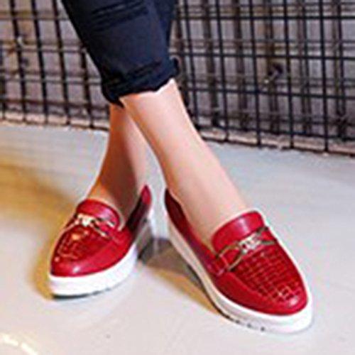 Aisun Damen Rund Ohne Verschluss Durchgängig Plateau Loafers Slipper Schuhe Rot