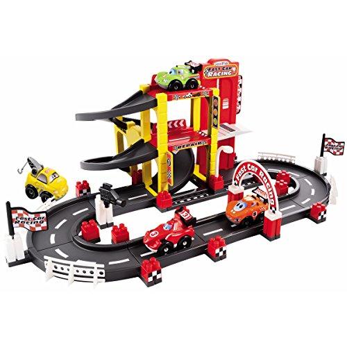 Auto Rennstrecke mit Aufzug, 3 Rennautos, 1 Abschleppwagen - Abrick Auto Renn Bahn Strecke Abschleppwagen Rennwagen Kinder Spielzeug Bau Set (Aufzug Auto)