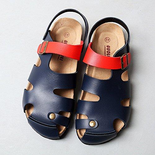 Sandali duo infradito pantofole estivi uomo piatti/scarpe da spiaggia/pattini freddi guida/pantofole maschile in sughero nero blu marrone bianco elegante