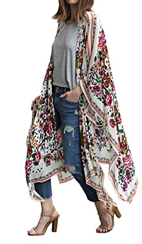 Hibluco Damen Florale Kimono Cardigan Strand Chiffon Bluse Tops Bikini Cover Up (Medium, K9)