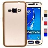 COOVY Funda para Samsung Galaxy J1 SM-J120 / SM-J120F / SM-J120F/DS (Model 2016) 360 Grados, Carcasa Ultrafina y Ligera, con Protector de Pantalla, protección de Cuerpo Completo | Color Oro