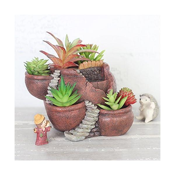 Xueliee – Maceta de plantas creativas decorada con mini jardín de hadas y casa dulce para decoración de vacaciones y…
