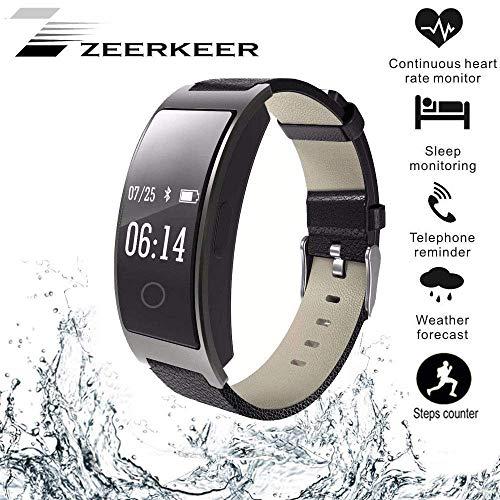Zeerkeer Smart Tracker Attività Orologio con Cardiofrequenzimetro, IP67 Impermeabile Braccialetto Intelligente con Contacalorie Misuratore di Pressione Sanguigna Contapassi per Donne Uomini (Nero)