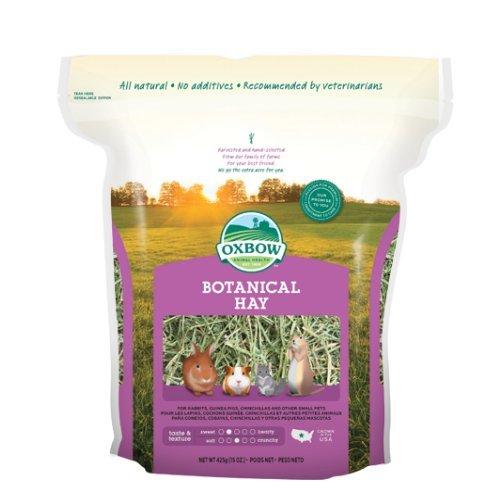 Oxbow Botanical Hay 425 gr - Fieno dal profumo intenso a base di fleolo arricchito con tre erbe profumate a seconda della stagione, per piccoli animali erbivori (1 sacchetto)