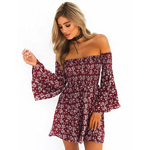 T-Shirt,Honestyi Räumungsverkauf, Frühling-Sommer Mode Damen Blumen Drucken Oberteile Kreativ Entwurf Aufflackern Hülsen Hemd Blusen Elegant Rosa Tops T-Shirt Streetwear S-XXXL (S, Rot)