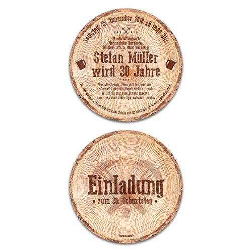 40 x Runde Einladungskarten Geburtstag Durchmesser 148 mm Baumscheibe Holzscheibe Rustikal Einladung