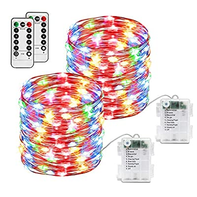 MCETek Battery Operated Fairy Lights, 2 Pack 10M 8 Modes 100 LEDs Waterproof Copper Wire String Lights Remote and Timer Firefly Lights Multi Color for Outdoor Indoor Garden Wedding Party Decoration