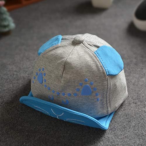 mlpnko Neue kleine Gummi weich entlang Katze Hut Kleinkinder aus Hip Hop Hut lässig hundert grau + blau geeignet für Kopfumfang 46~50cm (Biker Kostüm Für Kleinkind)