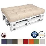 Beautissu Cuscino per bancali di legno ECO Style - 120x80x15 cm - comoda seduta per divano pancale di legno - beige