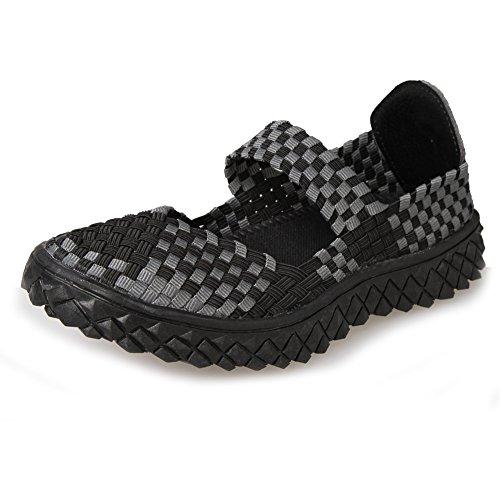 Paris-hill-women-deslizamento Em Sapatos Baixos Respirável Tecido Água-sapatos 02blgrey