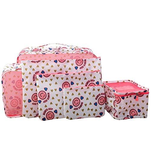 Tigèr 6 Sätze Reisegepäck Organizer Aufbewahrungstasche Reisebeutel - Rotwein Chrysantheme Rose Lächeln