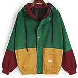 Damen Mantel, Lonshell Cord Farbe Patchwork Windbreaker Oversize Jacke Frühling Mantel (S, Wein)