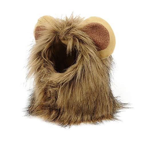 Löwenmähne für Hund Löwe Perücke für Hunde Kostüm mit offenen Ohren (braun) für Halloween Weihnachten 1 Stück ()