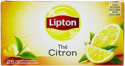 Lipton Thé Noir Citron, Label Rainforest Alliance 75 Sachets (Lot de 3x25 Sachets)