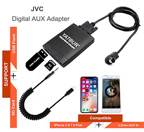 iPhone Stereo Aux Adapter, KFZ Digital Audio-Eingang Interface mit SD-Karte, iPod MP3 USB, 3,5 mm AUX IN, Lightning Musik Player für JVC Head Unit (M06-jvc) (Unit Head Car-audio Jvc)