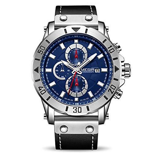 SBDONGJX Chronographe Montres À Quartz pour Hommes Top De Luxe Bleu Hommes Sport Montre Horloge Relogio Masculino Montre Homme Heure Heure