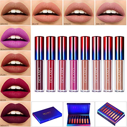 Rossetti Matte Lunga Durata,Afflano Rossetto Opachi Set,Nude Liquid Lipstick Waterproof Make up Kit 8 Colors,Ever Rossetto Rossi Rosa Viola Pink Marrone Rimpolpante Labbra Naturale Pacco Regalo