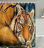 PLYY Personalidad Linda de la Cortina de Ducha del poliéster de la Impresión del Tigre 3D 3D, 180 * 200cm