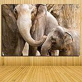 Elefant mit Sohn Leinwandbilder Ölgemälde Bunte moderne abstrakte Malerei Kunstwerk gemalt Wanddekor, kein Rahmen, R1 60x90CM