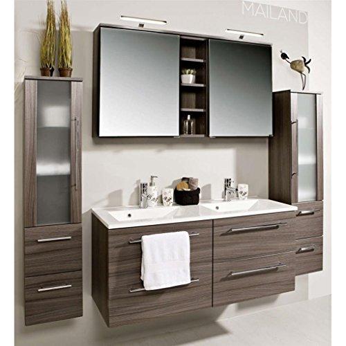 #Badezimmer Möbel Set Mailand Eiche dunkel inkl. Doppel-Waschbecken und Doppel-Spiegelschrank als Sonderangebot Preishit#