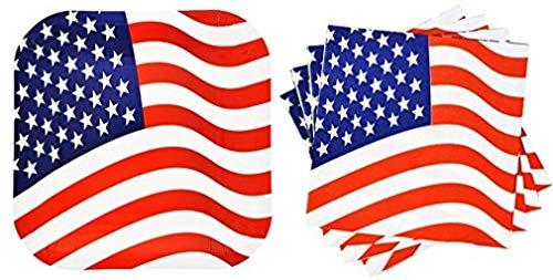upplies: 14ct American Flagge Teller und 20CT Passende Servietten ()