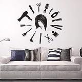 Qthxqa Salon De Coiffure Murale Décalque De Cheveux Outils De Cheveux Autocollant Mural Coiffeur Styliste Murale Horloge Murale Forme Barbier Boutique Beauté Salon Décor 1134