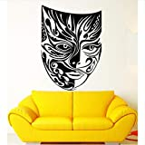 Muro creativoCreative Masquerade Mask Teatro Arti Modello Wall Sticker Indossando Maschera Tribal Monster Sign Adesivo Per Ragazzi Camera Murales