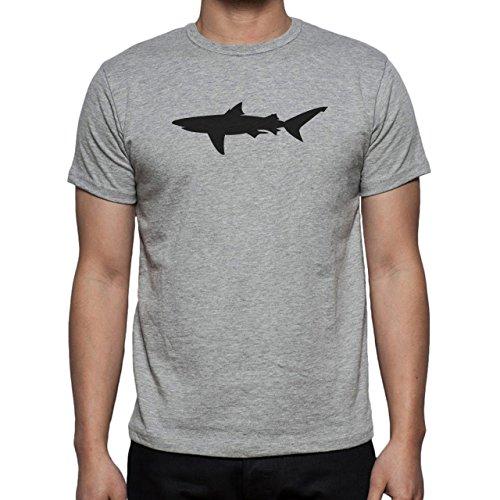 Shark Sea Fish Predator Black Shadow Swim Big Herren T-Shirt Grau