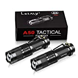 Pack of 2 Small LED Torches, LETMY 300 Lumens Super Bright Mini Torch Flashlight with 3 Modes and Adjustable Focus for Camping, Hiking, Gift