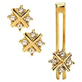 #5: Sanjog Impressive Diamond Crystals Gold Cufflink With Matching Tie Pin for Men Gift Pack