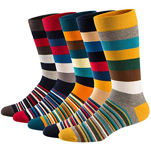 HIWEAR Mens 5er-Pack Bunt gemusterter Luxus-Design-Komfort-Kleid aus Baumwollbeiläufiger Socke UK 6-14 (XL:UK 10-14/EU 44-49, NEW-Funky2) -