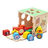 HXSS Wooden Sorter Cube Toy Shape of Geometry Stacking Game Gift for Kids Birthday or Christmas