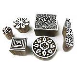 Royal Kraft Indisch Quadrat und Runden Motif Holz Blöcke für Drucken (Set von 6)