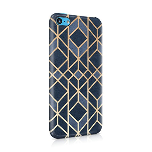 Blue Granite Stone Cubes Pattern Hard Thin Plastic Phone Case Cover For iPhone 5C
