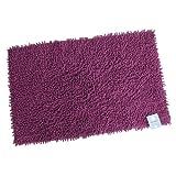 Stilvolles Chenille Badvorleger Set – Shaggy Style – Handgearbeitet   60 x 100 cm   LILA   100 % saugstarke Baumwolle   schwere 1600 g/m²   Badteppich   Badvorleger   Badematte von der edlen Marke Pink Papaya   in kräftigem lila
